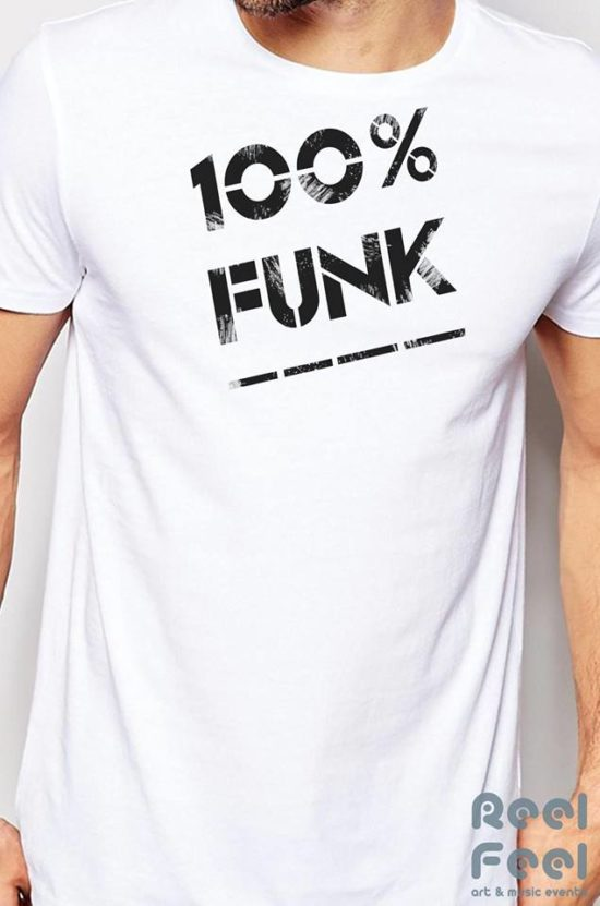 100 % funk t-shirt organic cotton man - white